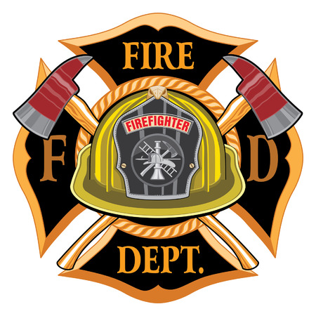 Illustration pour Fire Department Cross Vintage with Yellow Helmet and Axes is an illustration of a vintage fireman or firefighter Maltese cross emblem with a yellow volunteer firefighter helmet with badge and crossed axes. Great for t-shirts, flyers, and websites. - image libre de droit
