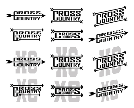 Illustration pour Cross Country Designs is an illustration of twelve designs for cross country runners in schools, clubs and races. Great for t-shirt, flyers and school designs. - image libre de droit