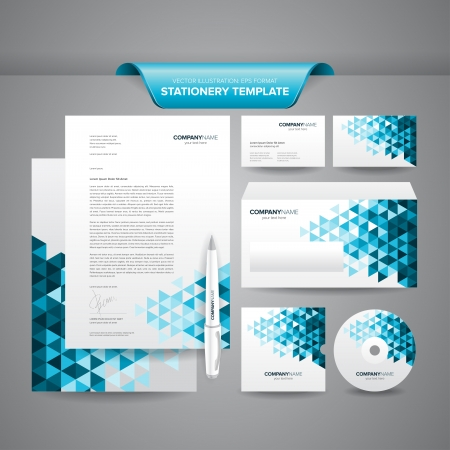 Ilustración de Complete set of business stationery template such as letterhead, envelope, business card, etc  - Imagen libre de derechos