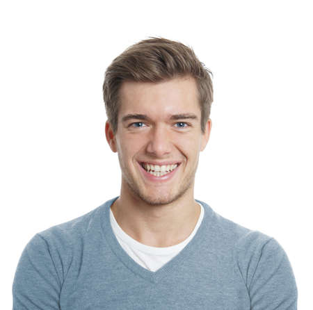Photo pour happy young man with big toothy smile isolated on white - image libre de droit