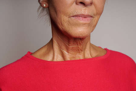 Photo pour close-up of wrinkled skin mature woman's neck and face - image libre de droit