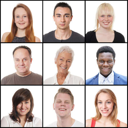 Photo pour collection of 9 headshots of multi-ethnic women and men ranging from 18 to 65 years - image libre de droit