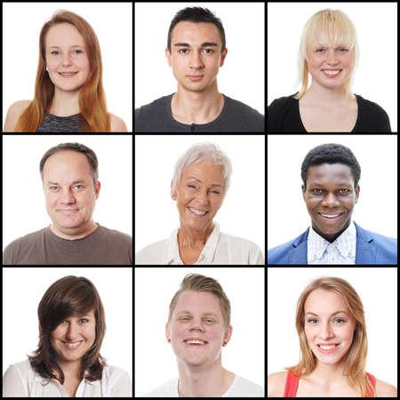 Foto de collection of 9 headshots of multi-ethnic women and men ranging from 18 to 65 years - Imagen libre de derechos