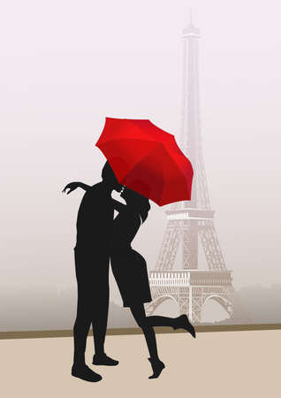 Couple of lovers with red umbrella, in Paris with the Eiffel Tower on background. illustration