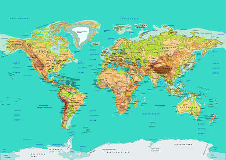 Illustration for Map of the World. Names of countries and cities, continents, state borders are located on separate layers. - Royalty Free Image