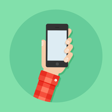 Illustration for Hand with phone vector illustration. Man's hand with phone. Hand with phone flat illustration. Hand holding a phone concept. Smartphone in hand. Hand with phone isolated on background. - Royalty Free Image