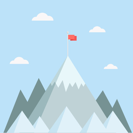 Illustration pour Mountain top vector illustration. Mountain peak in a flat style. Mountain with flag. Concept for illustration goals achievement, success. Mountain top with flag. - image libre de droit