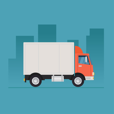 Illustrazione per Truck vector illustration. Truck isolated on a colored background.  Concept illustration of delivery and trucking. Truck icon in a flat style. Illustration of a truck on road. - Immagini Royalty Free