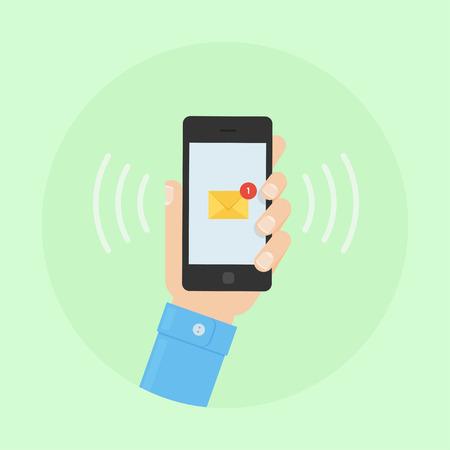 Illustration pour SMS message design illustration. SMS alert to a mobile phone. SMS vector flat illustration. SMS on a mobile phone. Sending and receiving SMS messages. - image libre de droit