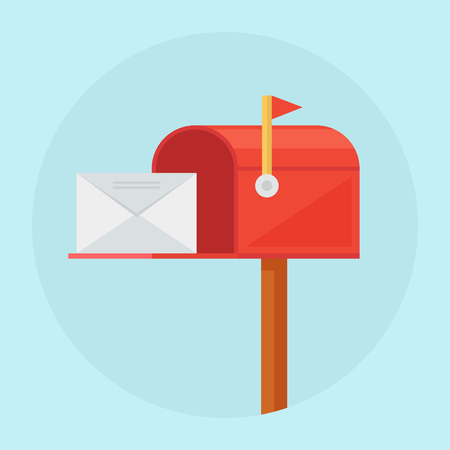 Illustration pour Mail box vector illustration. Mail box icon in the flat style. Mail box post. Mail box isolated from background. Mail box open. Mail box concept. - image libre de droit