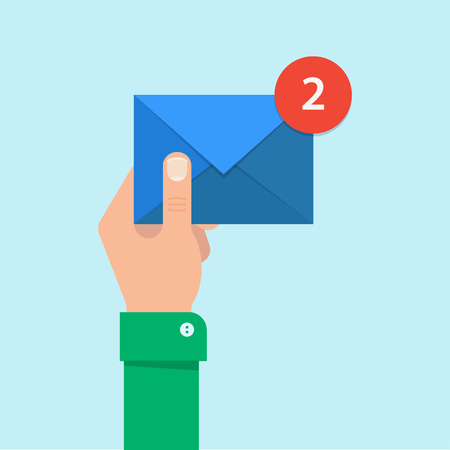 Illustration pour Email message concept. New, incoming message, sms. Hand holding envelope, letter. Delivery of messages, sms. Mail notification, sending messages. Get mail, chat message. Coming messages. - image libre de droit