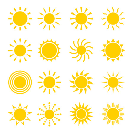 Illustration pour Sun icon vector set. Concept icons of the sun in a flat style. Different icons for sun logo. Collection of sun icons isolated on white background. Sun icon design. - image libre de droit