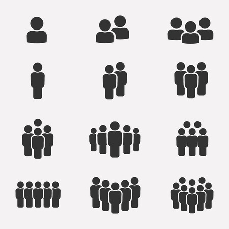 Ilustración de Team icon set. Group of people icons isolated on a white background. Business team icons collection. Crowd of people black silhouettes simple. Team icons in flat style. - Imagen libre de derechos