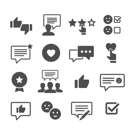 Illustration pour Customer reviews vector icon set. Feedback and user experience of clients. Loyalty and testimonials from users. - image libre de droit