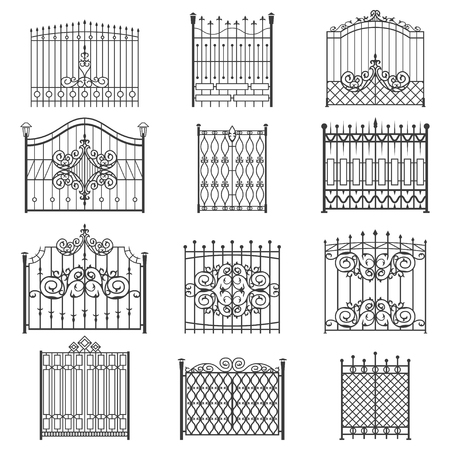 Illustration for Iron gate line art set. Uniquely designed for private safe, friendly and welcoming house or garden. Vector flat style illustration isolated on white background - Royalty Free Image