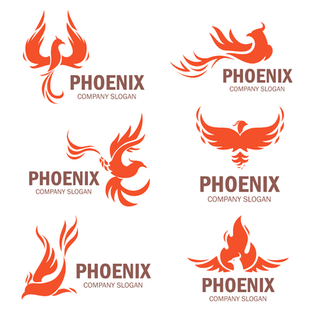 Illustration pour Phoenix company slogan set. Rising from the ashes bird, symbol and idea of strong business. Vector flat style illustration isolated on white background - image libre de droit