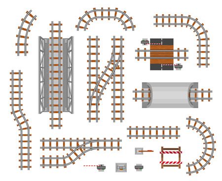 Illustration pour Railroad platform and wagon. Train pathway section, passengers transferring track, business way perspective. Vector flat style illustration isolated on white background - image libre de droit