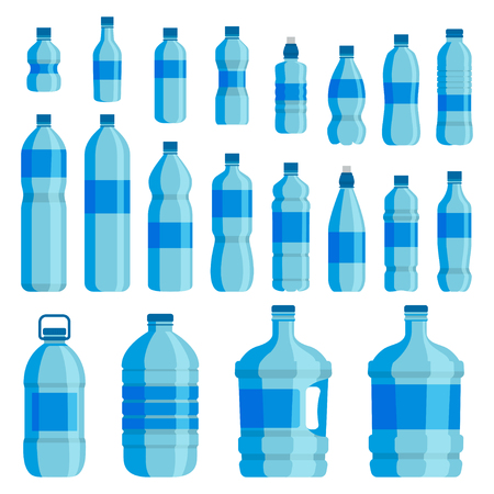 Ilustración de Plastic bottle water set. Blue drinking water packaged in PET Bottle, recyclable and easy to store liquids. Vector flat style cartoon illustration isolated on white background - Imagen libre de derechos