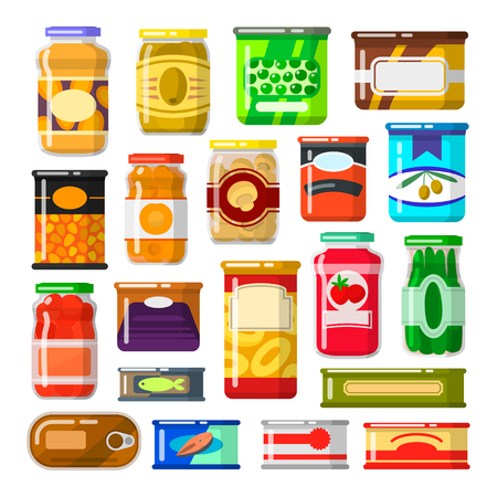 Illustration pour Canned goods set - image libre de droit