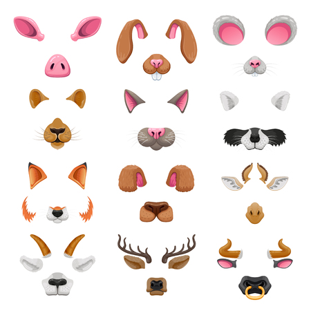 Illustrazione per Video chat animal faces effects. - Immagini Royalty Free