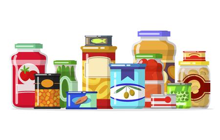 Illustration pour Canned goods in a row. - image libre de droit