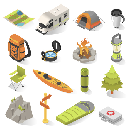 Ilustración de Camping and travel isometric elements. Outdoor activity withovernight stays away from home in a shelter. Vector illustration on white background - Imagen libre de derechos