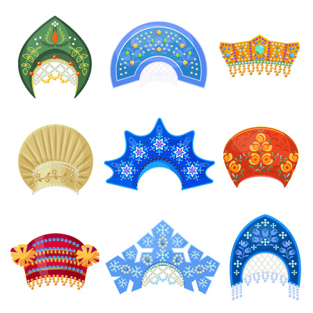 Illustration pour Russian kokoshnik traditional hat with ornament set. Russian headdress for women. Vector flat style cartoon illustration isolated on white background - image libre de droit