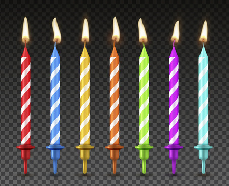 Illustration pour Cake candles set, realistic style holiday decoration. Birthday dessert decor, bright color flame effect. Vector illustration - image libre de droit