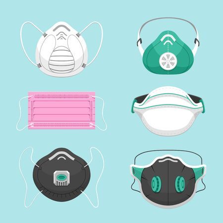 Illustration pour Protective medical masks flat vector illustrations set. Various respirators for health care isolated on blue background. Air pollution, environment contamination, disease prevention symbols pack - image libre de droit