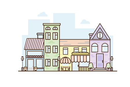Illustration pour City Street flat design. Urban streetscape. Vector houses. Cartoon exterior architecture, touristic place, facade for illustration of business town-planning project, background for any cartoon scene - image libre de droit