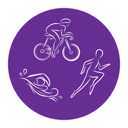 Ilustración de Triathlon hand drawn outline icons set for sport event or marathon or competition or triathlon team or club materials, check list, invitation, poster, banner, logo. Swim, bike, run icons and lettering - Imagen libre de derechos