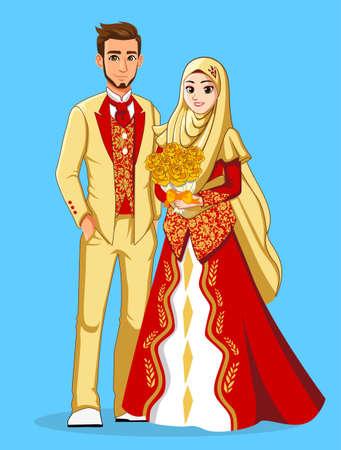 Photo pour Gold Red Muslim Wedding Dress - image libre de droit