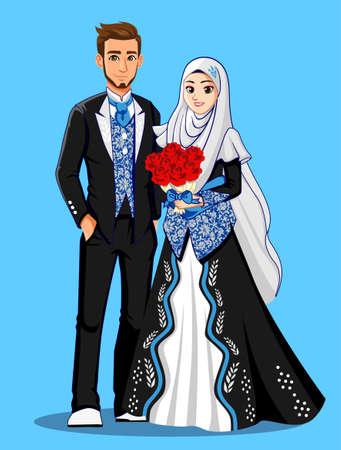Photo pour Blue Black Muslim Wedding Dress - image libre de droit