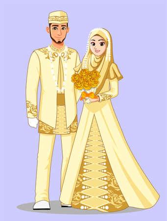 Photo pour Gold Muslim Wedding Dress - image libre de droit