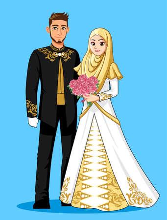 Photo pour Gold Black Muslim Wedding Dress - image libre de droit