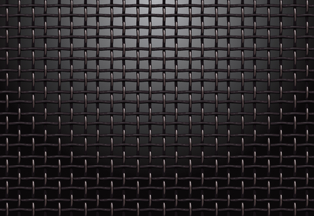 Illustration pour Metal grill grid realistic vector structure black background - image libre de droit