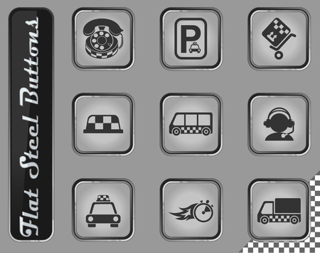 Illustration pour taxi services vector web icons on the flat steel buttons - image libre de droit