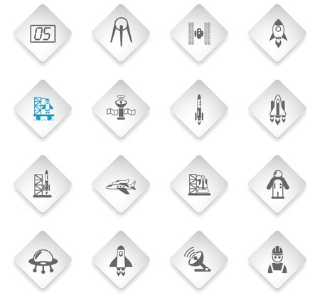 Illustration pour spacecrafts flat rhombus web icons for user interface design - image libre de droit