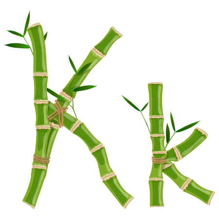 Illustration pour Bamboo letter K with young shoots with leaves, eco vector font - image libre de droit