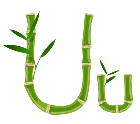 Illustration pour Bamboo letter U with young shoots with leaves, eco vector font - image libre de droit