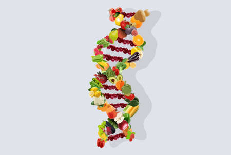 Illustration for Nutrigenetics concept illustration dna strand vegetables and fruits - Royalty Free Image