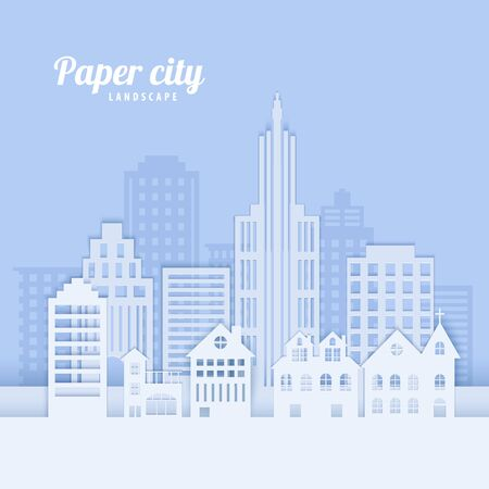 Illustration pour City landscape in paper cut style. White papercut office and residential buildings for city ecology brochures, environmental Protection, housing rental advert. Vector card architecture panorama - image libre de droit