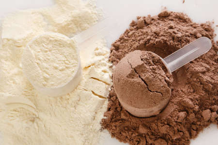 Photo for Close up of protein powder and scoops - Royalty Free Image