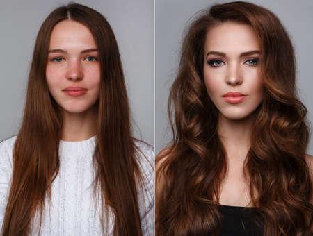 Photo pour Picture of female face with comparison after makeup and retouch. - image libre de droit