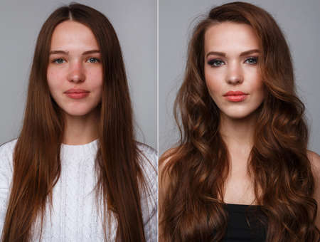 Photo pour Woman before and after makeup. Real result without retouching. - image libre de droit