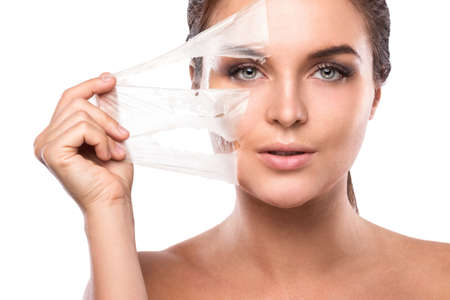 Photo pour Young and beautiful woman with Purifying Mask on her face - image libre de droit