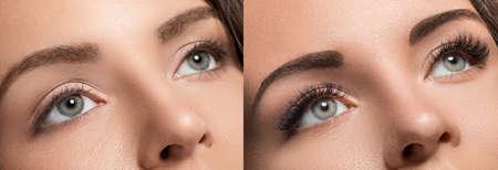 Foto de Female face comparison after eyelash extension and eyebrow correction - Imagen libre de derechos