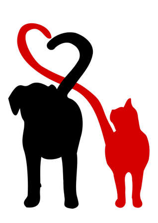 Illustration pour Dog and cat silhouette making a heart in the tail - image libre de droit