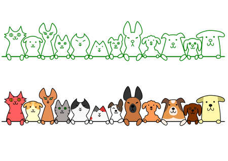 Illustration pour dogs and cats in a row with copy space - image libre de droit