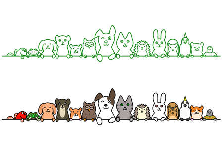 Ilustración de pet animals in a row with copy space - Imagen libre de derechos